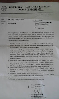 SURAT PEMBERITAHUAN DARI PEMERINTAHAN KABUPATEN DINAS PENDIDIKAN NO 900/071/DISDIK-A.2/2016