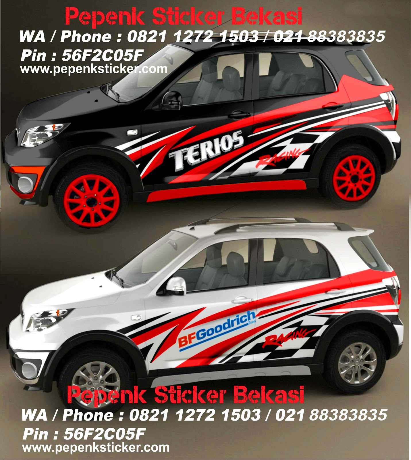 cutting sticker grand new avanza toyota yaris trd exhaust rush terios nangguk