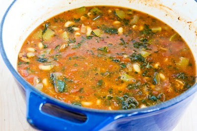 finished soup - Italian Sausage, Zucchini, and Macaroni Soup Recipe found on KalynsKitchen.com