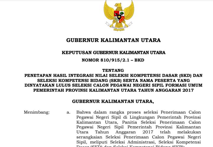 Hasil Seleksi Administrasi CPNS 2018