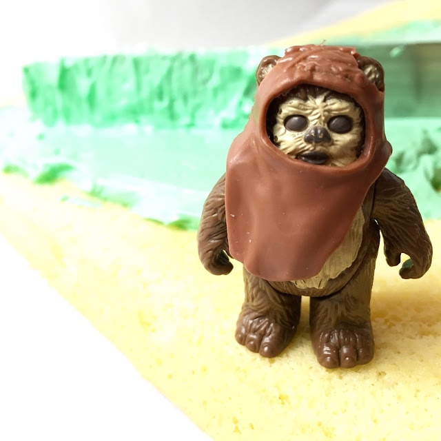 Ewok Standing with Sponge Cake Layered with Mint Buttercream Frosting