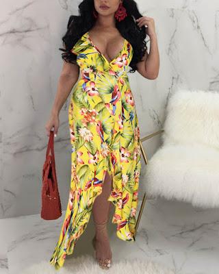vestido de verano largo de flores de moda