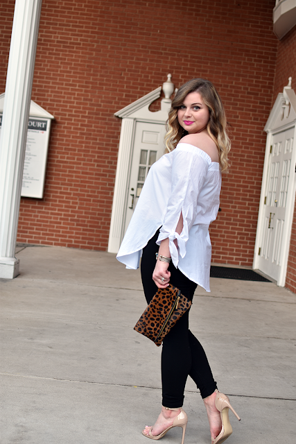 shein white off the shoulder blouse trend cold shoulder jcrew pixie pants steve madden stecy heels sandals madly yours collection leopard faux fur clutch clare v clutch david yurman cable bracelets mac lipstick candy yum yum date night look 8