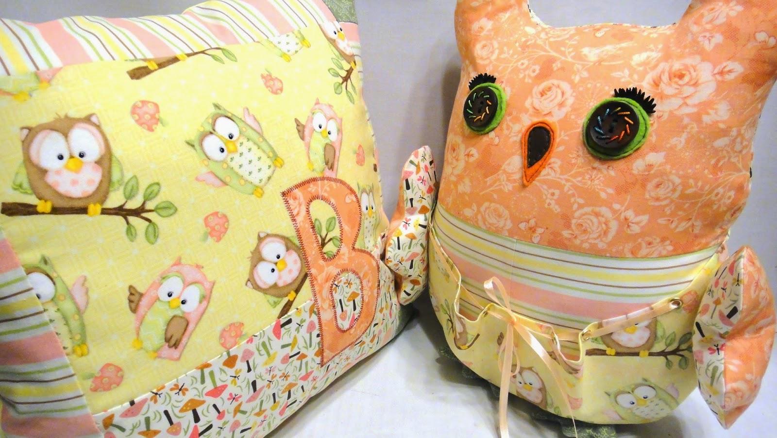 Набор подушек в кроватку Сова - персональный подарок девочке