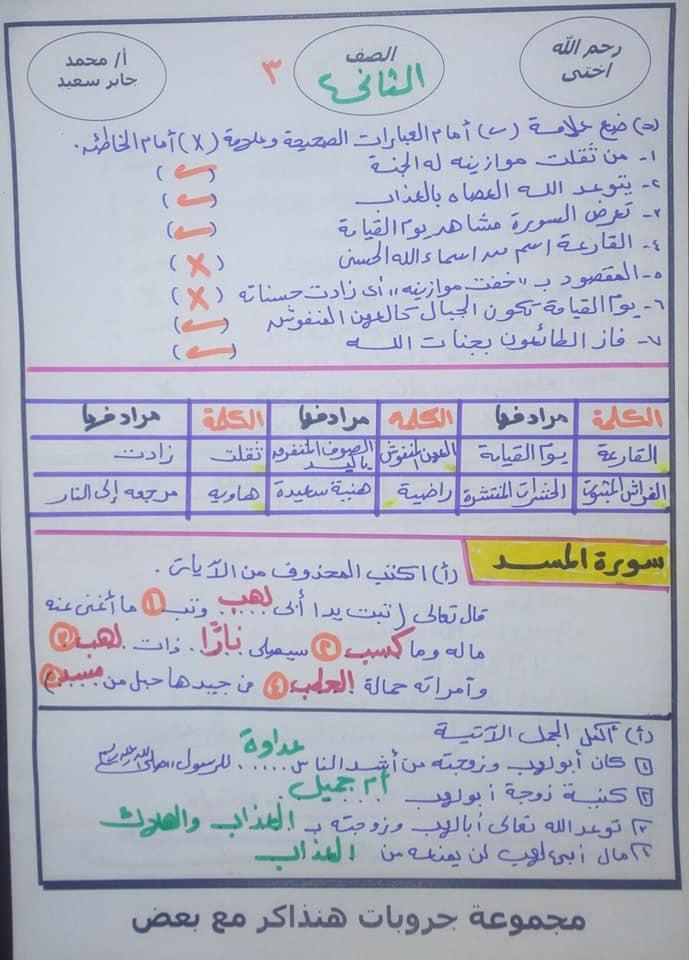 مراجعة التربية الدينية للصف الثاني الابتدائي ترم ثاني أ. محمد جابر 9