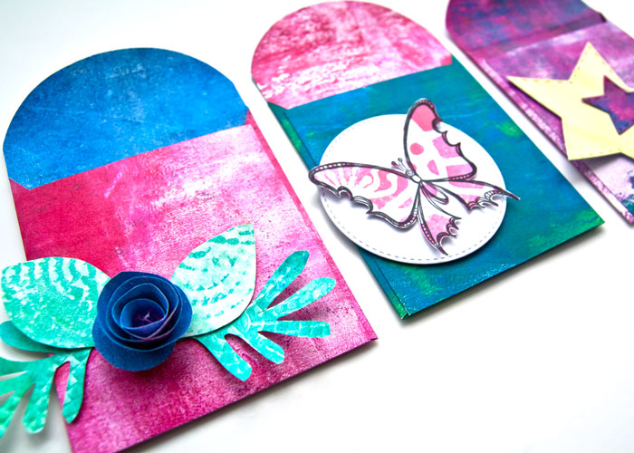 close-up Gelli Prints Project #3: DIY Envelopes, with a video by Kim Dellow