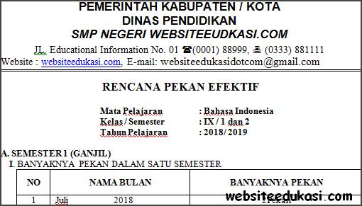 Rencana Pekan Efektif Bahasa Indonesia Kelas 9 Tahun 2018/2019