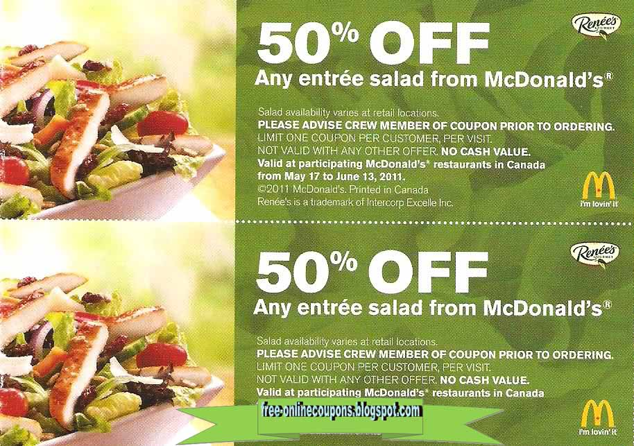 Mcdonalds free food coupons 2019