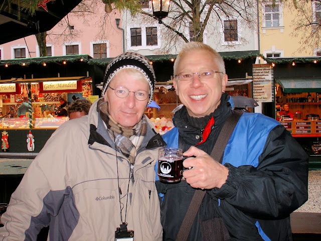Matthew and I sharing our first cup of steaming glühwein at the Passau Christmas market in Germany.