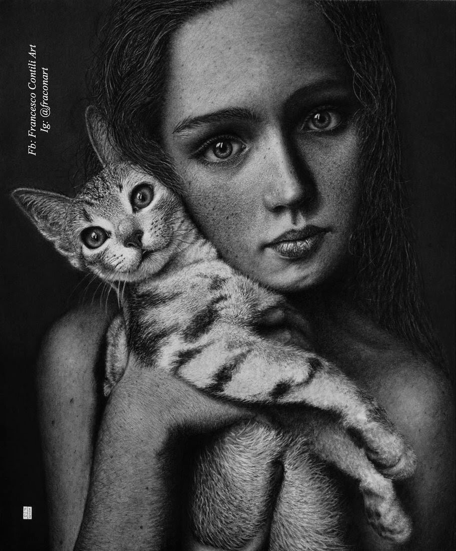 01-A-time-for-cuddles-Francesco-Contili-Realistic-Graphite-and-Charcoal-Portrait-Drawings-www-designstack-co