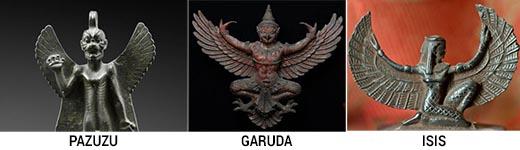 La deidad en la campana asemeja a Garuda o Pazuzu