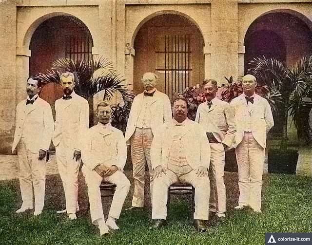 The Taft Commission.  Image source:   H.L. Knight [Public domain], via Wikimedia Commons.  Colorized courtesy of Algorithmia.
