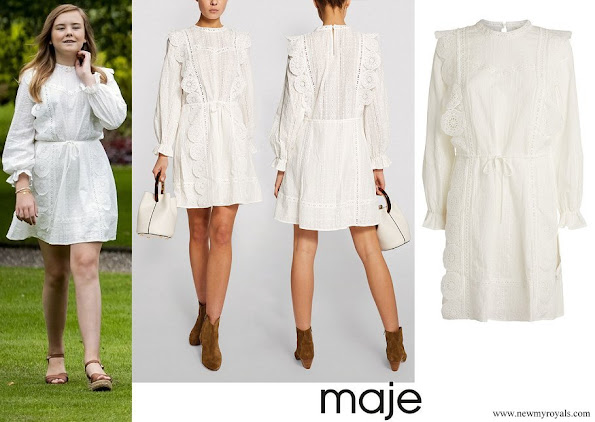 Princess Ariane wore Maje Broderie Anglaise Mini Dress