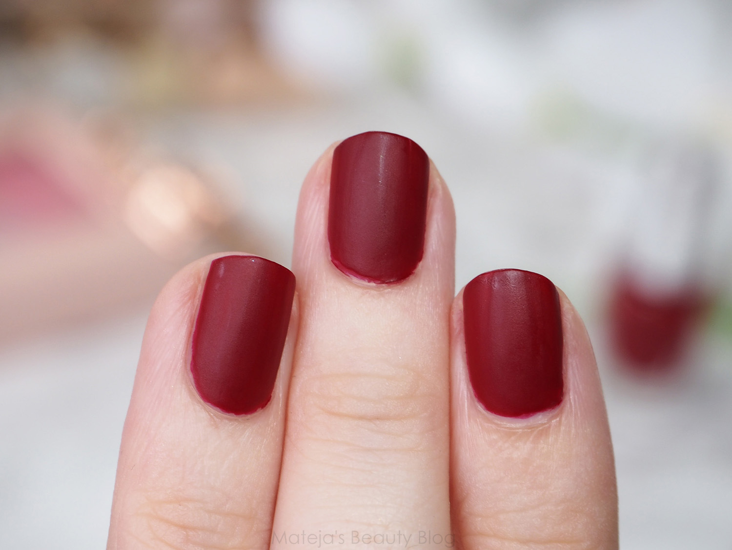BeYu Matt Color Nail Lacquer 145 Smokey Red - Mateja\'s Beauty Blog