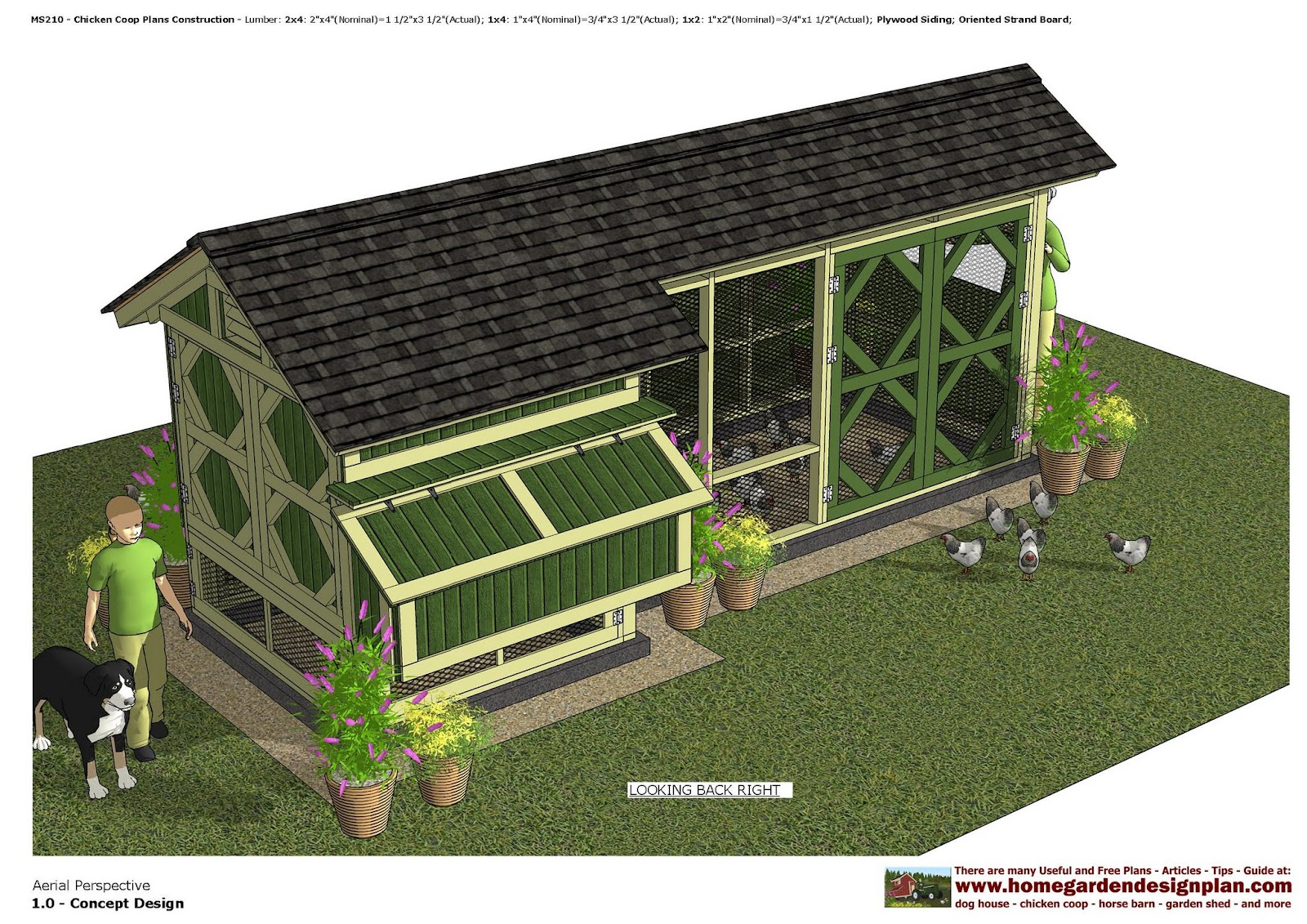 Home garden plans ms210 chicken coop plans construction for Chicken coop size for 6 chickens