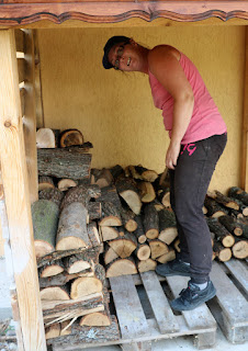 A starts stacking the wood
