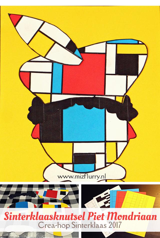 Uitleg hoe je een Piet Mondriaan maakt (Sinterklaasknutsel). Gratis printable van het Mondriaan grid (De Stijl) en losse Piet-onderdelen. Deelnemer van Crea-hop Sinterklaas 2017.