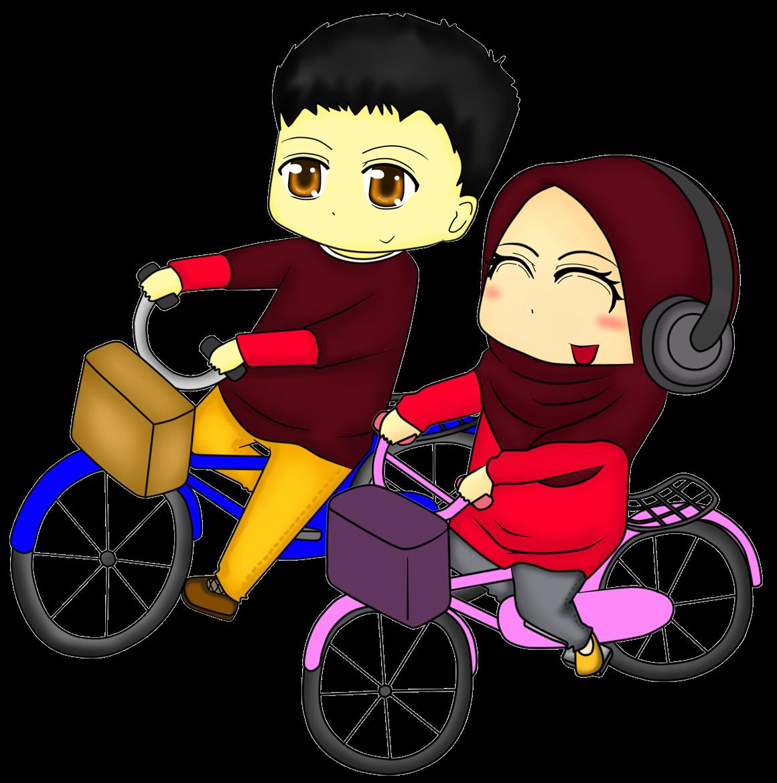 Diya Hanun chibi doodle muslimah couple naik basikal