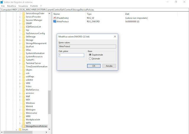 Impedire la scrittura su memorie USB tramite il registro di sistema