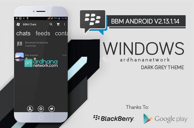 BBM MOD Windows Phone Dark Grey