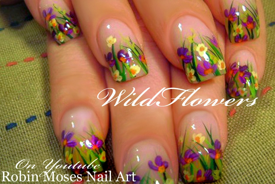 Nail Art By Robin Moses Diy Easy Spring 2016 Wild Flower