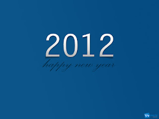 Happy New Year 2012 Simple Text Wallpaper Blue