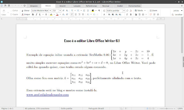 LibreOffice Writer 6.1