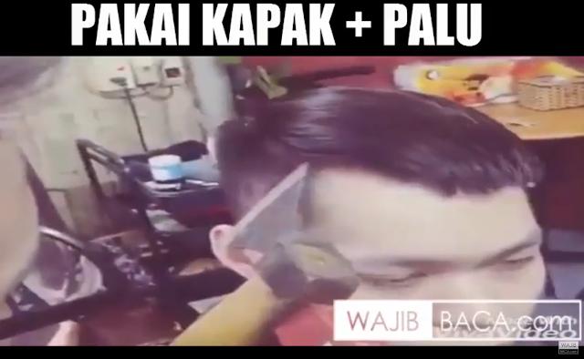 Asli Ngilu! Tukang Cukur Anti-Mainstream, Potong Rambut Pakai Kapak dan Palu