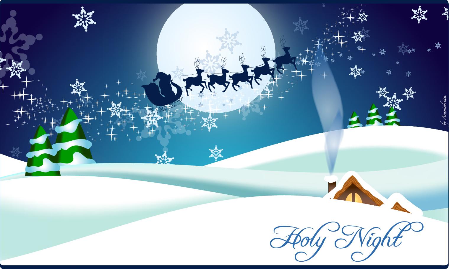 カード クリスマスカード 素材 テンプレート : Free Vector がらくた素材庫: 聖夜 ...