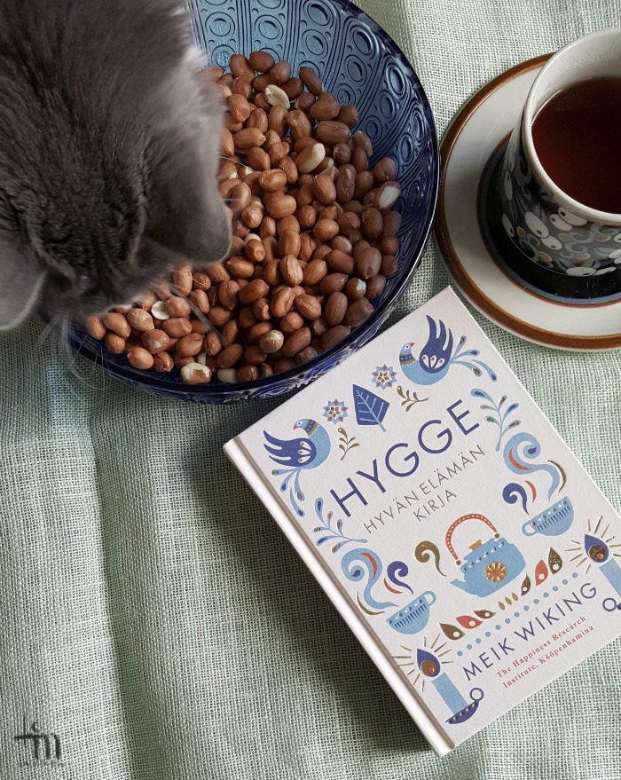 hygge - hyvän elämän kirja, teekuppi ja kissa