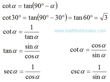 Useful formulas of trigonometric. cot, tan, sec, csc. Mathematics For Blondes.