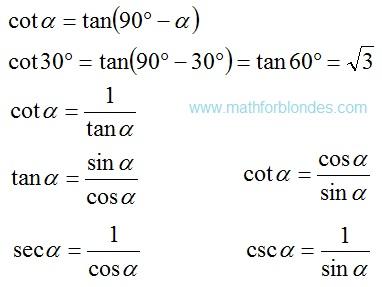 Useful formulas of trigonometric. cot, tan, sec, csc. Mathematics For Blondes.