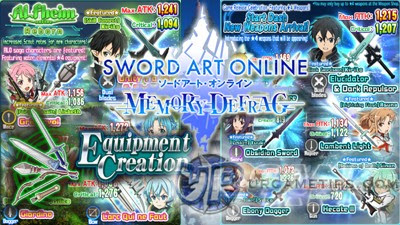 Sword Art Online: MD - Weapons List and Stats for Swords