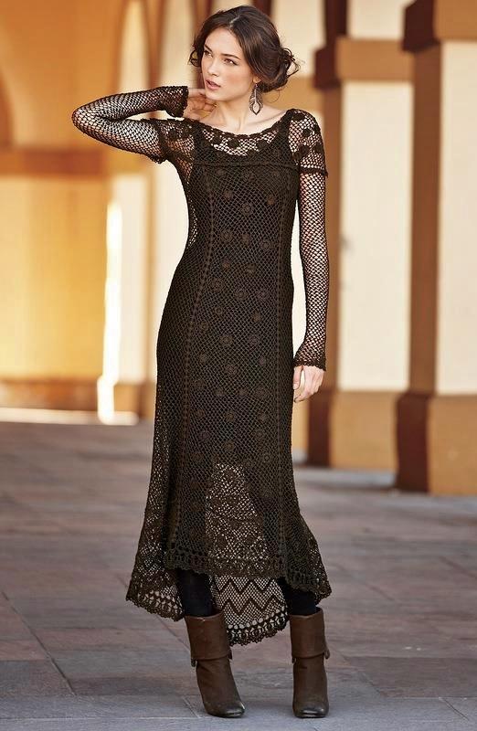 szydelkowa siatkowa sukienka