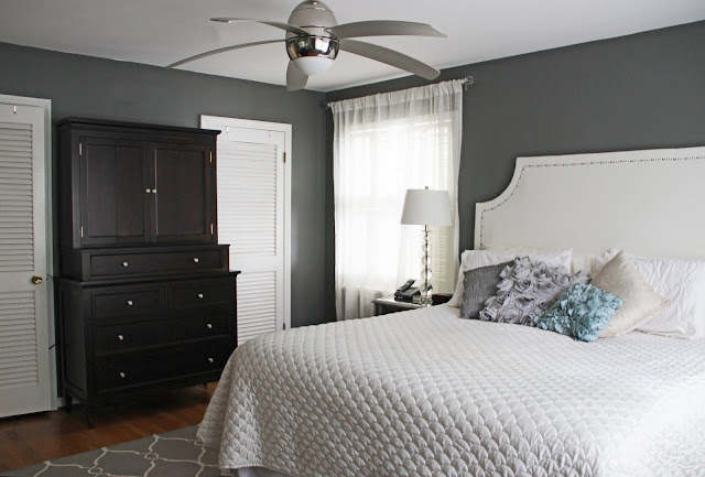 Gray & Metallic Bedroom Makeover
