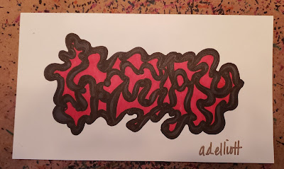 A pen and ink doodle meditation in red and grey and a blurb about literal translations