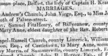 Ballycanew, County Wexford: A potential hometown for Enoch Fitzhenry?