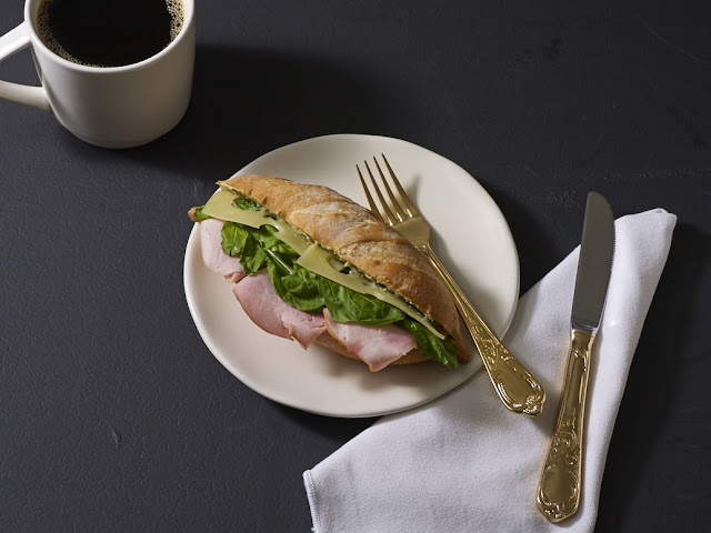 Starbcks Farmer's Ham & Emmental Cheese on French Baguette