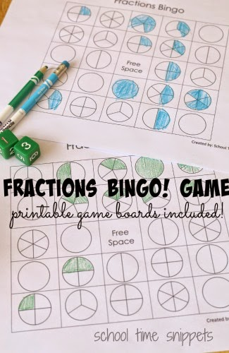 hands-on fractions bingo game
