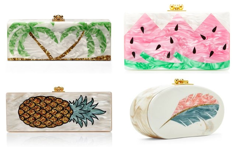 Edie Parker pineapple watermelon palms acrylic clutches