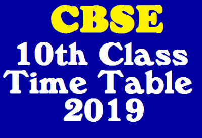 CBSE 10th Class Time Table 2019