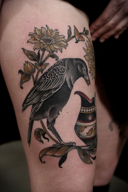 Stunning Sunflower and Bird Tattoos