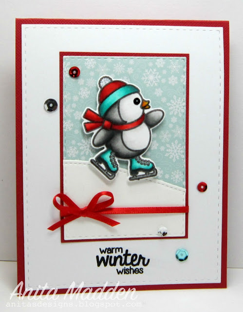 Sunny Studio Stamps Snow Kissed Penguin Winter Wishes by Anita Madden.