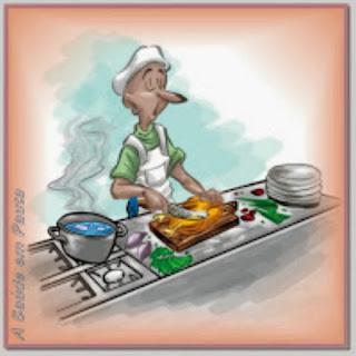 Ilustração indicando sobre o manuseio correto dos alimentos.