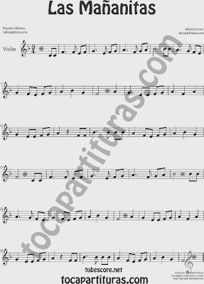 Las Mañanitas Partitura de Violín Sheet Music for Violin Music Scores Music Scores