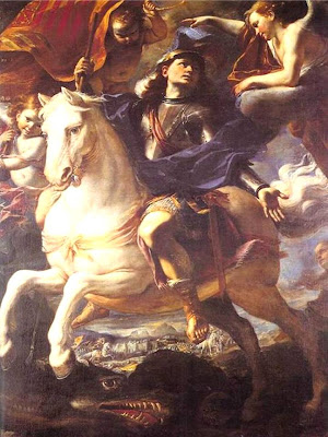 En la imagen San Jorge a Caballo rodeado de angeles