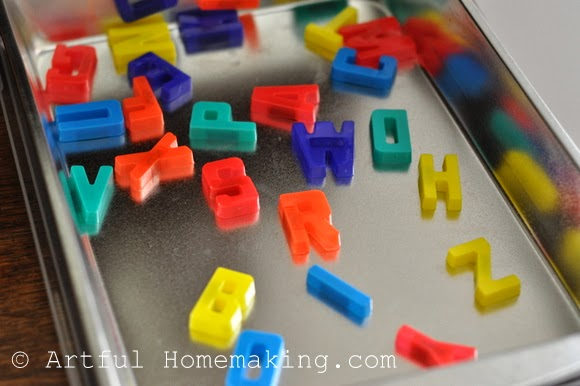 Fine Motor Coordination: Keeping Little Ones Hands Busy. magnetic letters on metal cake pan