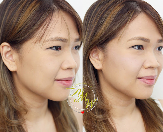 before and after photo of Tony Moly Cheektone Powder review in shade P01