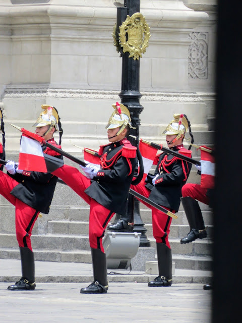 Changing of the guard ceremony at Palacio de Gobierno del Perú in Lima Central