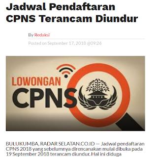 Pembukaan Pendaftaran CPNS 2018 Diundur